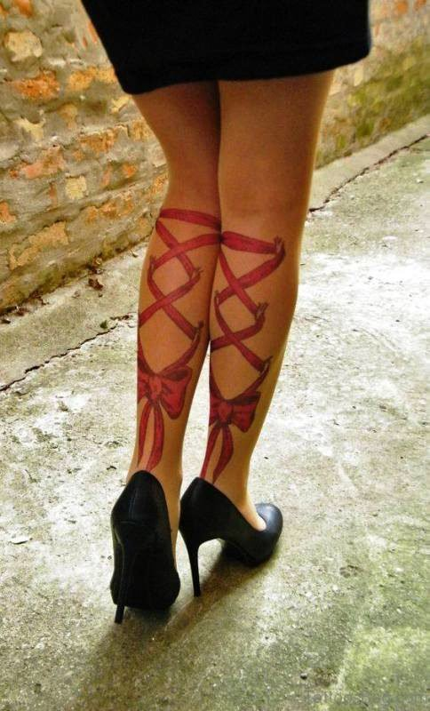 Excellent Corset Tattoo On Both Legs