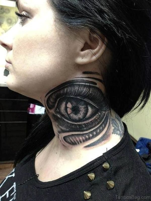 Excellent Eye Tattoo On Neck