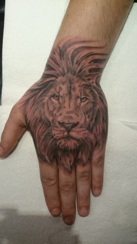 Excellent Lion Tattoo On Hand