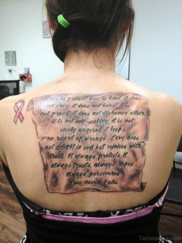 Excellent Scroll Tattoo On Back