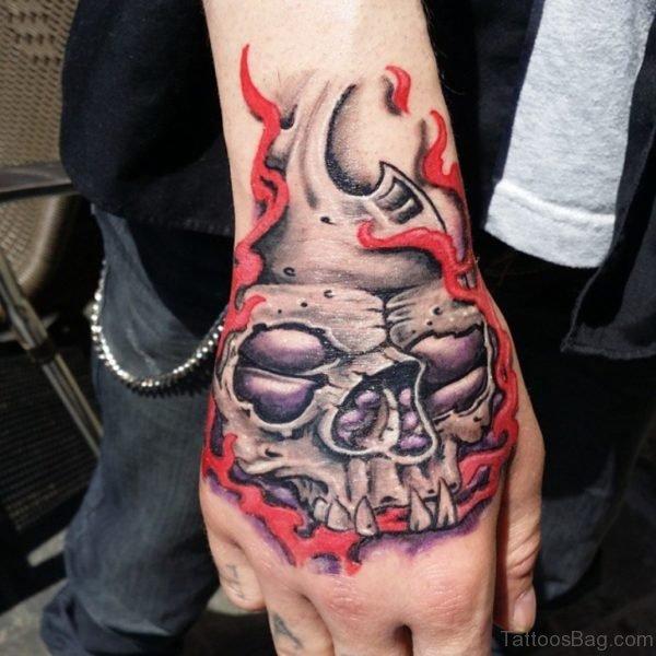 Excellent Skull Tattoo Design On Hand