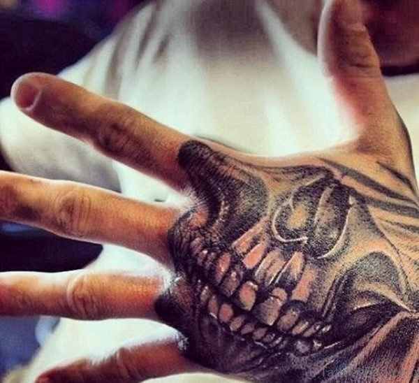 Excellent Skull Tattoo On Hand