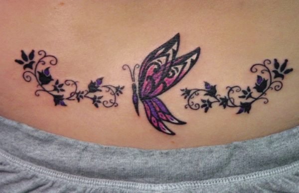 Excellent Tribal Butterfly Tattoo On Waist