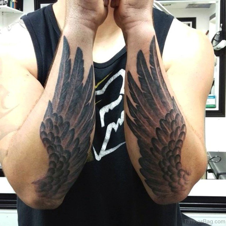 30 awesome wings tattoos on arm. Black Bedroom Furniture Sets. Home Design Ideas