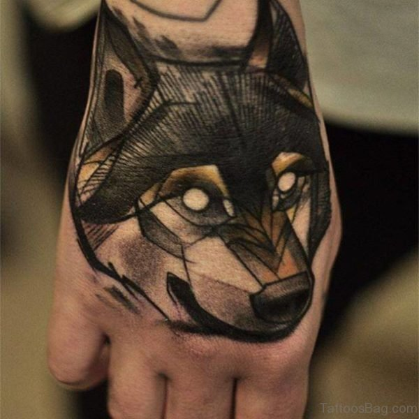 Excellent Wolf Tattoo On Hand