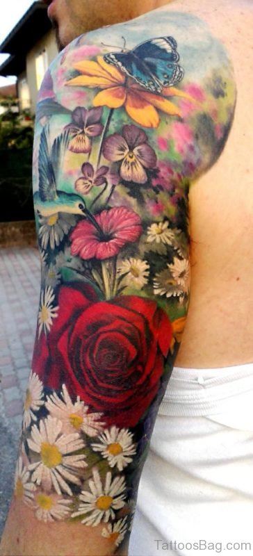 Exotic Flower Tattoo On Shoulder