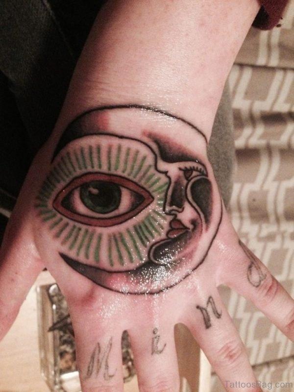 Eye And Moon Tattoo Design On Hand
