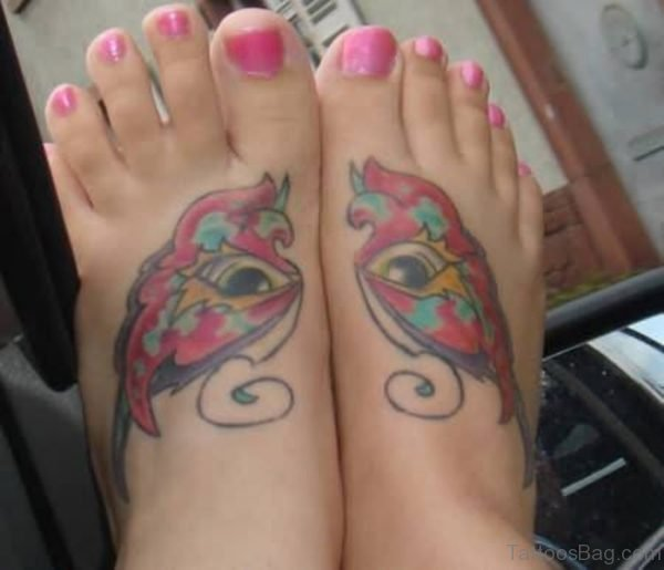 Eye Butterfly Tattoo On Foot