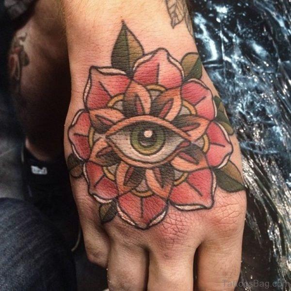 Eye Flower Hand Tattoo Design
