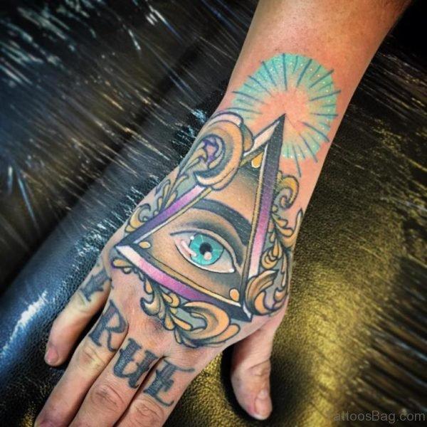 Eye Flower Tattoo Design On Hand