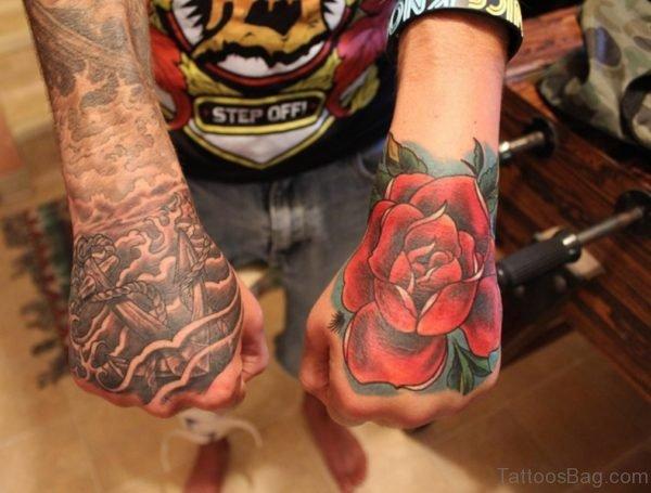 Eye Flower Tattoo On Hand