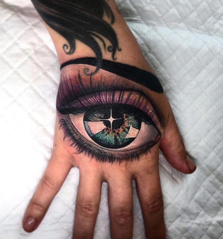 50 classic eye tattoos on hand for Tattoo your eyes