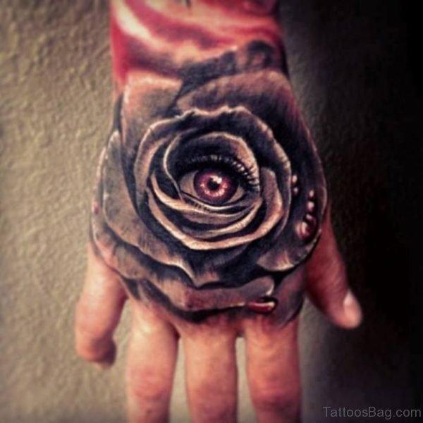 Eye Rose Tattoo On Hand