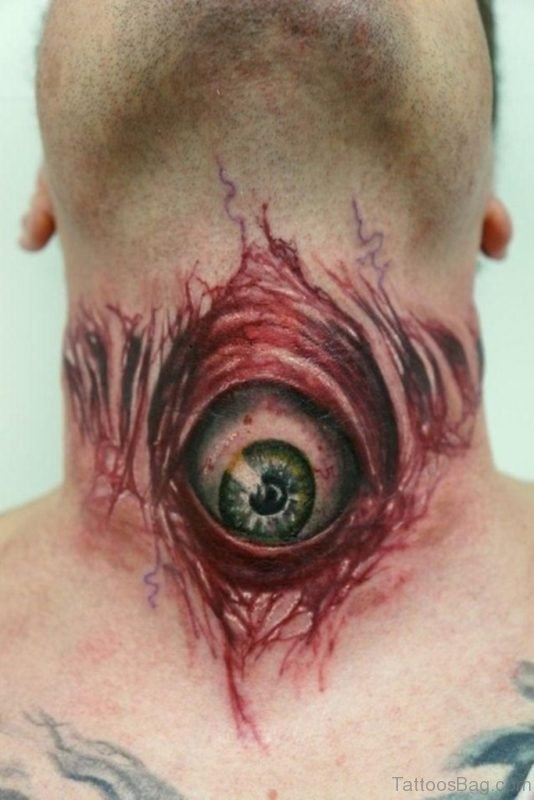 Eye Tattoo On Neck