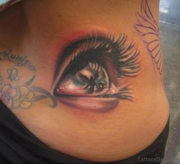 Eye Tattoo On Stomach