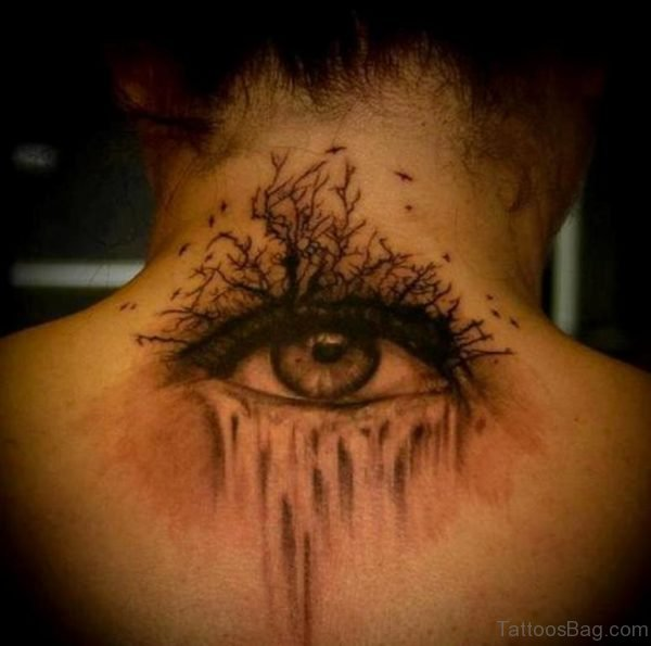 Eye Tree Tattoo On Back Nape