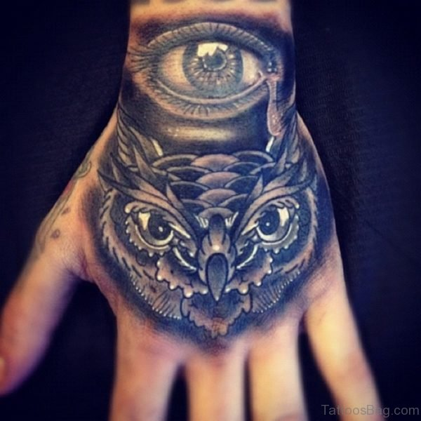 Eye and Owl Tattoo