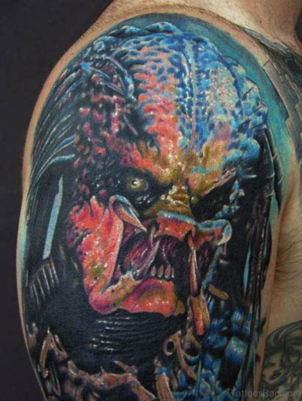 Fabulous Angry Alien Tattoo On Shoulder