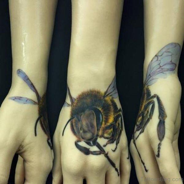 Fabulous Bee Tattoo On Hand