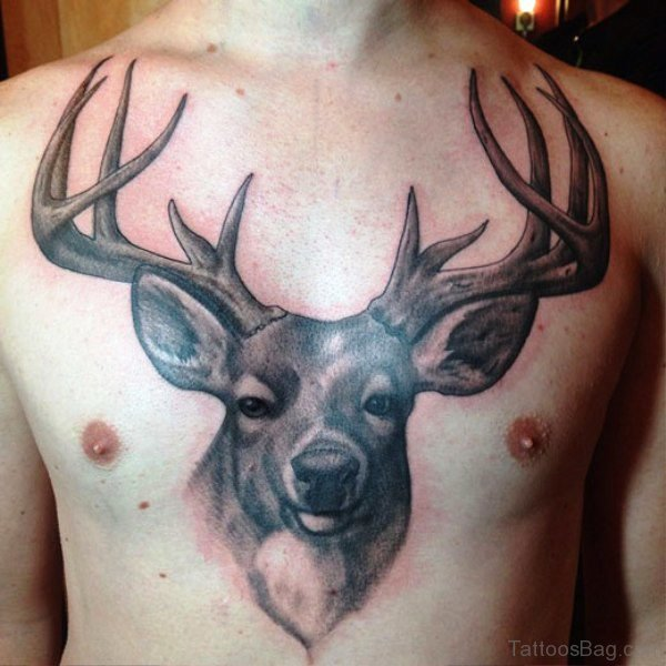 Fabulous Buck Tattoo On Chest