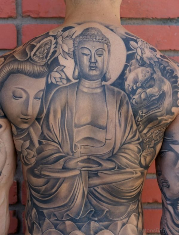 Fabulous Buddha Tattoo On Back Body