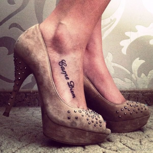 Fabulous Carpe Diem Tattoo On Foot
