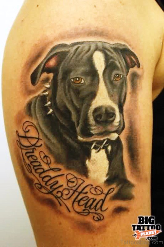 Fabulous Dog Tattoo On Shoulder