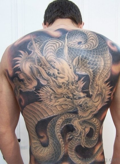 Fabulous Dragon Tattoo On Back Body