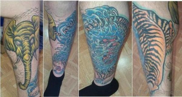 Fabulous Elephant Tattoo On Leg