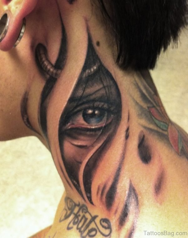 Fabulous Eye Tattoo On Neck