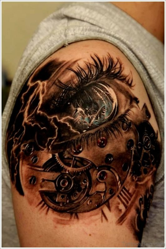 Fabulous Eye Tattoo On shoulder