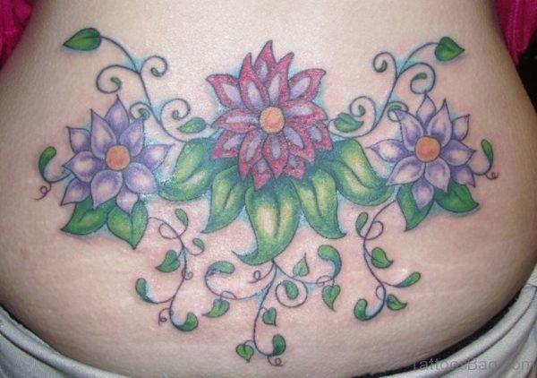 Fabulous Flower Tattoo On Lower Back