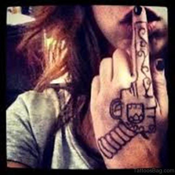 Fabulous Gun Tattoo On Hand