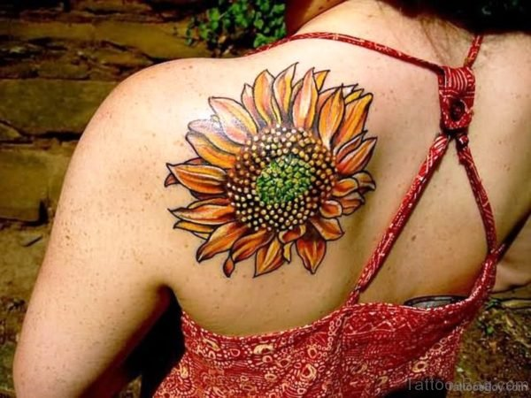 Fabulous Sunflower Tattoo On Back Shoulder