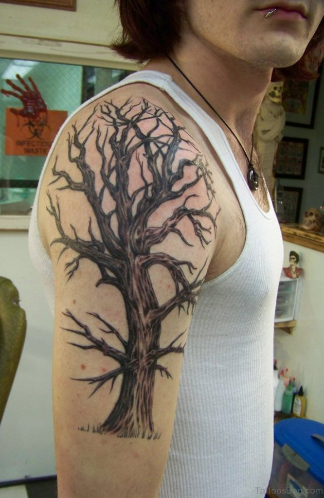 Tattoos of trees on the shoulder