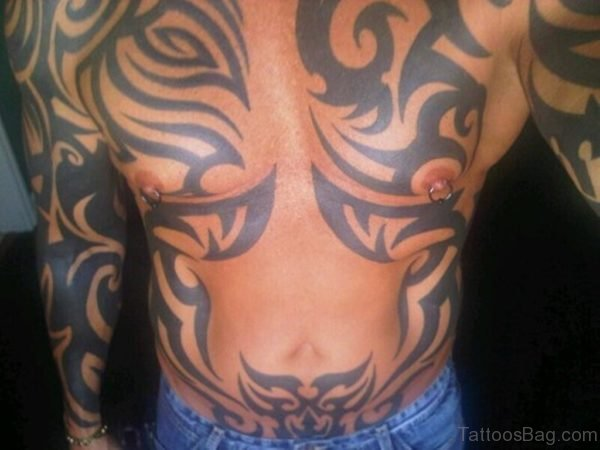 Fabulous Tribal Tattoo On Stomach