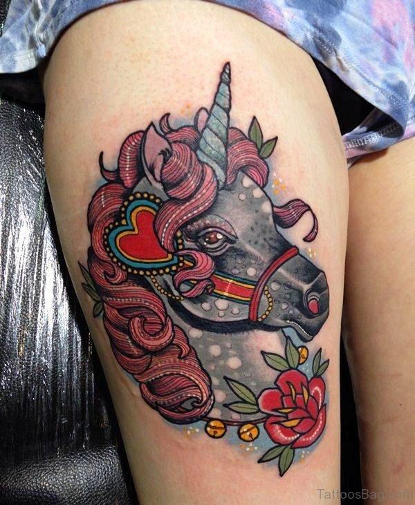 Fabulous Unicorn Tattoo On Thigh