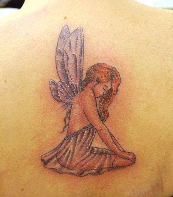 Fairy Tattoo On Upper Back