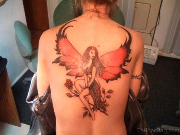 Fairy With Red Wings Tattoo On Back