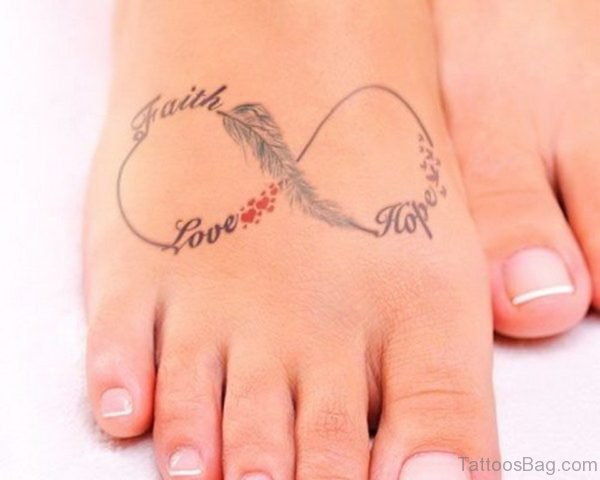 Faith Love Hope Infinity Tattoo on Foot
