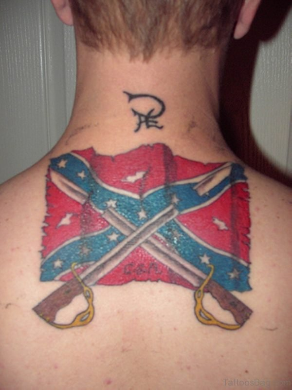 Flag Tattoo On Nape