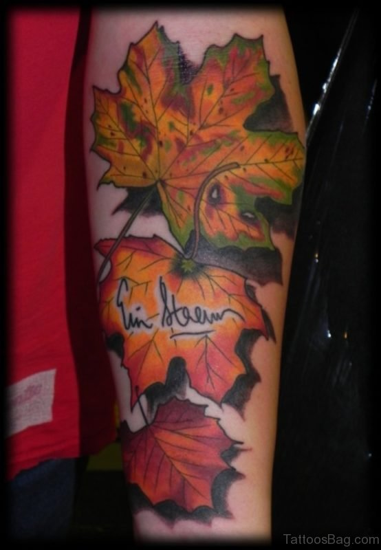 Fall Leaf Tattoo Design