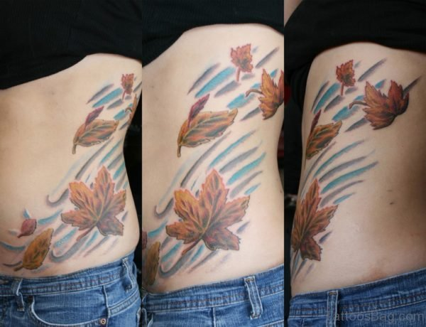 Fall leaves Tattoo On Rib