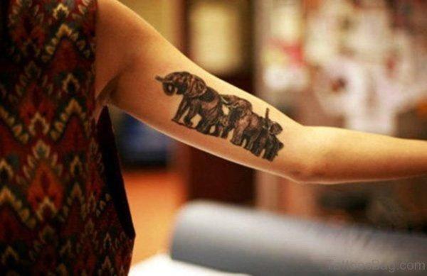 Family Elephant Tattoo On Forearm