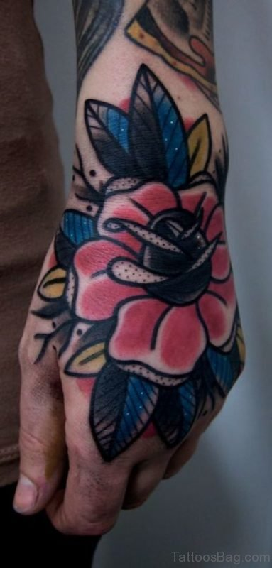 Fancy Red Flower Tattoo On Hand