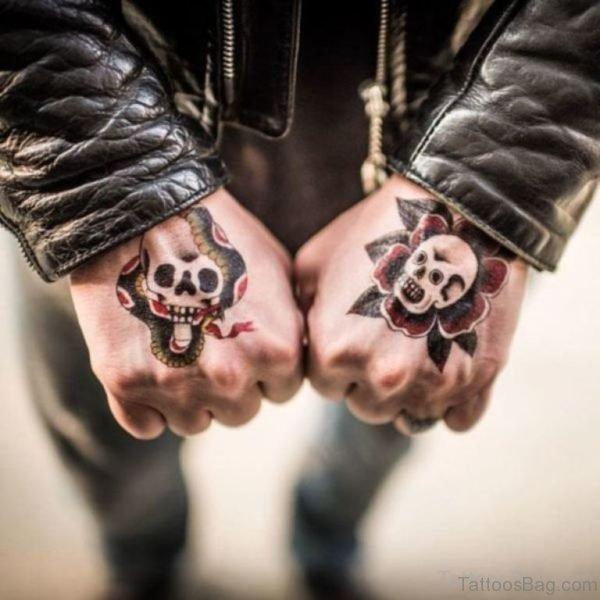 Fancy Skull Tattoo On hand