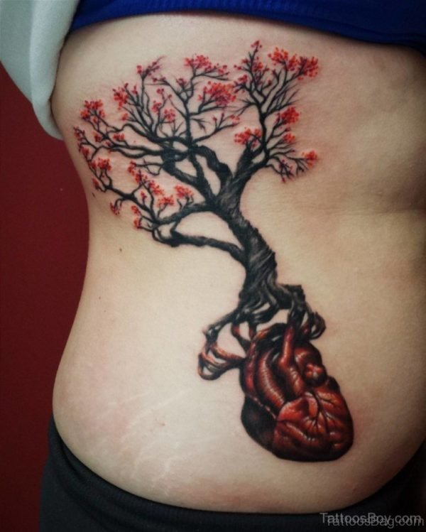 Fancy Tree Tattoo On Rib