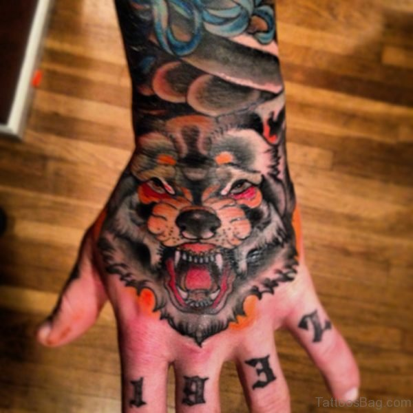 Fancy Wolf Tattoo