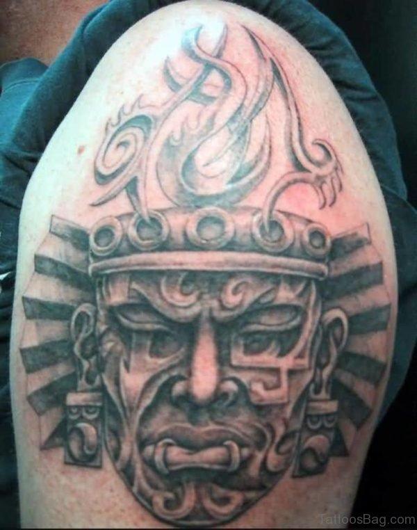 Fantastic Aztec Mask Tattoo Design On Shoulder