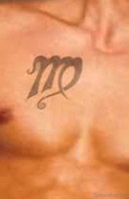 Fantastic Black Ink Virgo Zodiac Tattoo On Chest